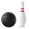Bowling-Kugel und Kegel