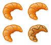 Set Icons von frischen knusprigen Croissants