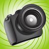 Kamera auf grünem Hintergrund