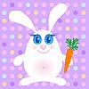Nettes Kaninchen mit einer Möhre