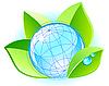 Ökologie-Konzept mit Globus und Blättern