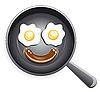 Smiley. Spiegeleier und Würstchen auf Bratpfanne