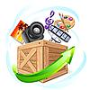 Box mit Multimedia-Inhalten