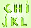 반짝이 녹색 알파벳 문자 GHIJKL | Stock Vector Graphics