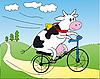 Kuh auf dem Fahrrad