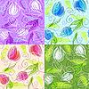 ID 3058677 | Zestaw bez szwu kwiatowe wzory | Klipart wektorowy | KLIPARTO