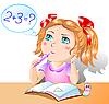 Kleines hübsches Mädchen studiert Mathematik