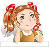 Kleines Mädchen mit roter Blume