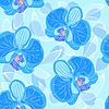 nahtloser blauer Hintergrund mit Orchideen