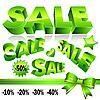 Set von grünen 3D-Verkauf-Icons
