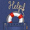 Jeans-Tasche mit Rettungsring