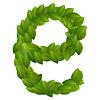 Buchstabe E der grünen Blätter Alphabet