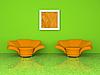 Grünes Interieur mit zwei orangefarbenen Sesseln 3D | Stock Illustration