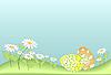 Ostereier unter einer Gras und Blumen