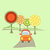 Ein Auto und Obst-wie Bäume