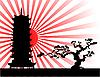 日本风景剪影 | 向量插图