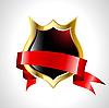 Schild mit rotem Band