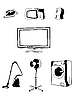 Vektor Cliparts: die abstrakte Elektronik Silhouette Set