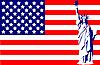 Freiheitsstatue auf der Flagge von USA