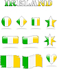Vektor Cliparts: Icons mit Flagge Irlands