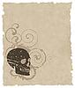 die braune grunge Schädel auf altem Papier