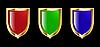 Set von Schilden - rot, blau und grün
