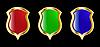 das Set, rot, blau und grünen Schild