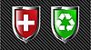Set von Schilden - rot und grün