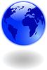 die blaue Weltkarte und Globus