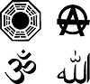 Set von religiösen Symbolen