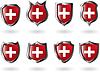 Set von roten Schilden