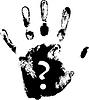 Handabdruck mit Fragezeichen