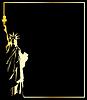 die goldene Statue der Freiheit auf schwarzem Hintergrund