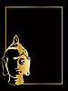 die Gold-Buddha auf schwarzem Hintergrund