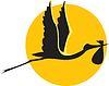 fliegender Storch mit Bündel