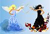 Engel und Teufel Retro Frau