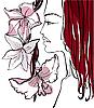 美丽的女人与花 | 向量插图