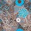 Коричнево-синий цветочный фон | Векторный клипарт