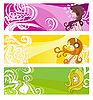 鲜艳的横幅花卉元素和妇女 | 向量插图