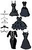 黑色礼服和hangerss设置 | 向量插图