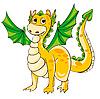 Goldener Drache mit grünen Flügeln