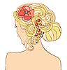女人的婚礼发型 | 向量插图