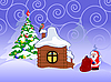 Weihnachtskarte mit Weihnachtsmann | Stock Vektrografik
