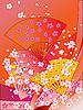 japanische Fächer, Bänder und Blumen