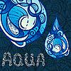 abstrakte Tropfen mit AQUA Buchstaben