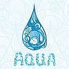 abstrakter Tropfen mit AQUA Buchstaben