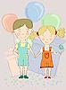 ID 3044865 | Junge und Mädchen mit Luftballons | Stock Vektorgrafik | CLIPARTO