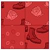 ID 3066096 | Nahtlose Grunge Hintergrund mit Stiefeln und Rosen | Stock Vektorgrafik | CLIPARTO
