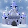 Burg im Winter in der Nacht
