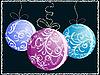 Weihnachtskarte mit drei glänzenden Kugeln